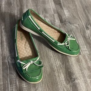L.L. Bean Green Deck Loafers Womens 8 Boat Shoes